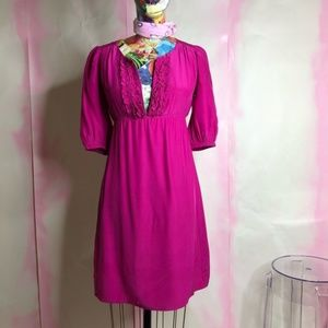 Amanda Uprichard Silk 3/4 Sleeve Shift A Line Dres